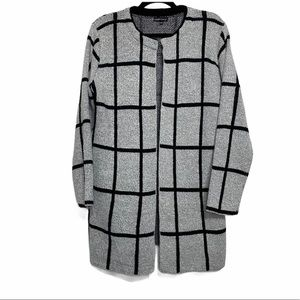 Kristine Gray & Black Window Pane Open Cardigan